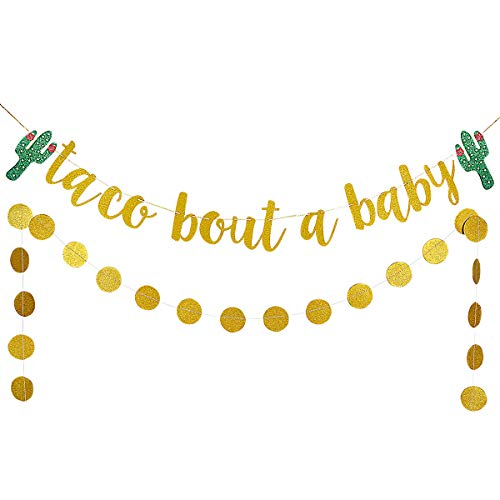 Gold Glittery Taco Bout A Baby Cactus Banner and Gold Glittery Circle Dots Garland- Mexican Fiesta Theme Baby Shower Decoration Supplies