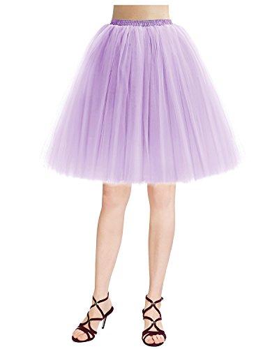 Bridesmay Jupon Jupe Tutu en Tulle 5 Couches rtro Vintage Couleurs varies Lavande
