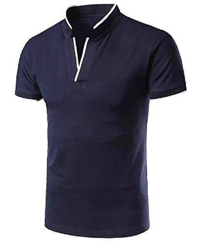 VITryst-Men Original Fit Summer Cool Basic Style Pique Polo Shirt Navy Blue XS ()