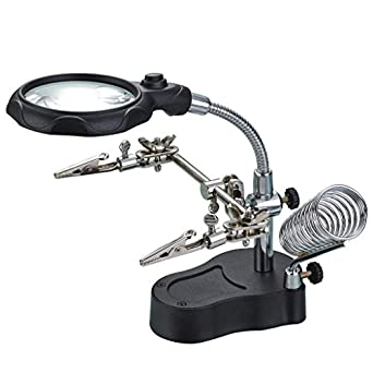 """HELPING 3RD HAND MAGNIFIER 3.5/"""" MAGNIFYING GLASS JEWELLERY SOLDERING CLAMP STAND"""