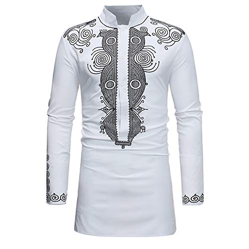 Beautyfine Luxury African Dashiki Shirt Suit Blouse,Autumn Winter Men's Long Sleevet Print Shirt Top Pants White