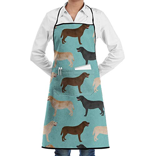 (Xayeu Cute Labradors Yellow Chocolate Black Lab Pet Dogs Apron for Women with 2 Pockets,Adjustable Machine Washable Kitchen Cooking Bib Apron)