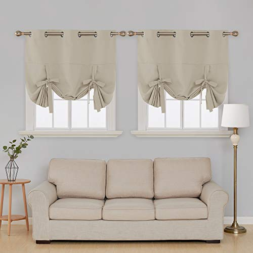 Deconovo Blackout Curtain Tie Up Shade Window Panels for Living Room Beige 46x63 Inches 2 Panels (Panels Tie Curtain)