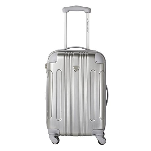 Travelers Club Luggage Polaris 20″ Met Hardside Exp Carry-on Spin, Silver