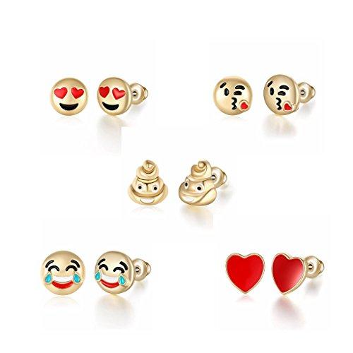 Lovely Gold Plated - 18K Gold Plated Lovely Face Emoji Stud Earring Set for Daughter Children Gifts (5 packs)