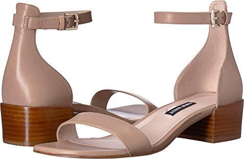 (Nine West Women's Xuxa Block Heel Sandal Light Natural Leather 8.5 M US)