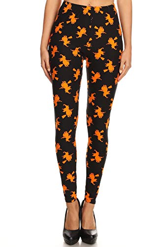 iZZYZX Women's 3X 5X Halloween Witch Pattern Printed Leggings