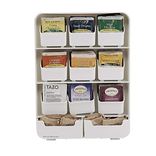 Mind Reader 9 Removable Drawers Tea Bag holder and Condiment Organizer, White ()