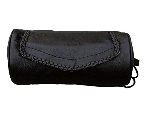 Genuine Soft Leather Universal Motorcycle Tool Bag w/Braid Trim