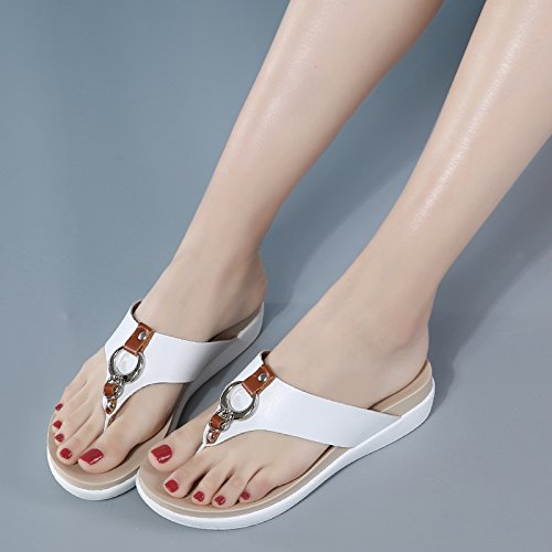 Bottomed thick white Heel Flat Anti Toe Slip Bottom Kphy Thirty nine Wear Summer Pantoufles Clip Casual Tongs 5wOzUT6R6
