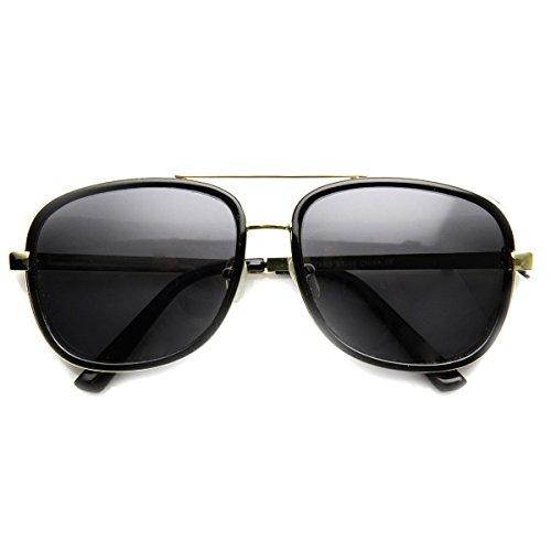 zeroUV - High Fashion Studio Cover Side Shield Tony Stark Square Sunglasses (Black-Gold - Sunglasses Aviator Side Shields With