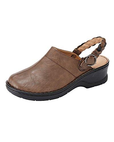 Damen 1 Baumwolle in Damen 2 Schuhe Leichte Braun E Traders Fit Clogs YwwF5