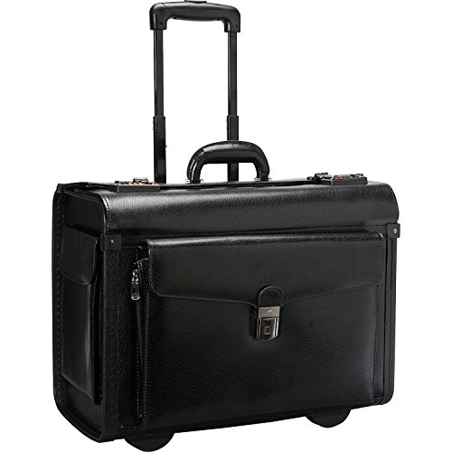Mancini Deluxe Wheeled Leather Catalog Case - Black by Mancini Leather Goods