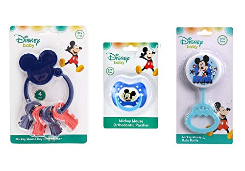 Disney Baby Mickey Mouse Rattle, Key Ring Teether and Orthodontic Pacifier Bundle Set, BPA-Free ()