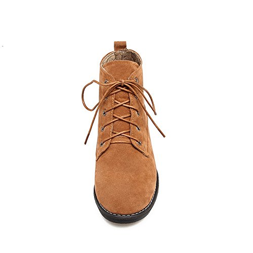 BalaMasa Womens Round-Toe Slip-Resistant Comfort Suede Boots ABL09939 Yellow FFh68hJKB