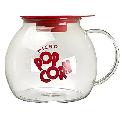 Ecolution Micro-Pop Popcorn Popper, 3 QT Capacity | Glass Microwave Popcorn Maker w/ Dual Function Lid