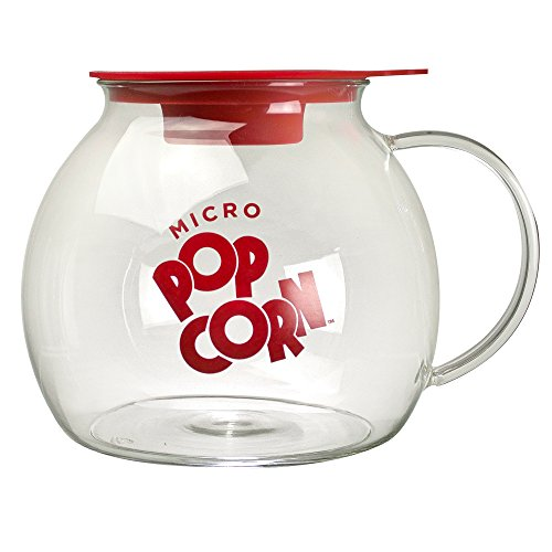 Ecolution Micro-Pop Popcorn Popper, 3 QT Capacity | Glass Microwave Popcorn Maker w/ Dual Function Lid ()