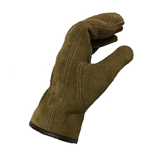 Genuine Leather Men's Welding Gloves Cut-proof Labor Gloves Thicken Extreme Heat Resistant Coffee Color Work Gloves Camping/Gardening Gloves DHST08 (Large) by QEES