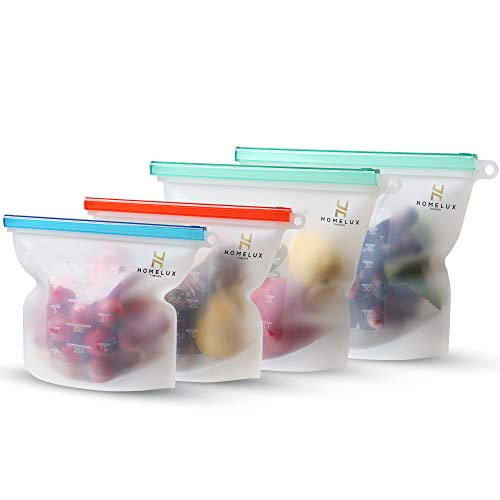 Homelux Theory Reusable Silicone Food Storage Bags | Sandwich, Sous Vide, Liquid, Snack, Lunch, Fruit, Freezer Airtight Seal | BEST for preserving and cooking | (2 Large + 2 Medium)