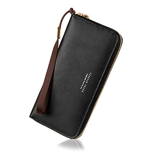 Wallets for Women, Long Leather Checkbook Card Holder Purse Zipper Buckle Elegant Clutch Ladies Wallet Coin Purse (Black NO1) ()