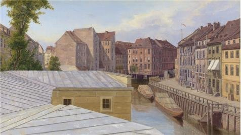The Perfect Effect Canvas Of Oil Painting 'Eduard Gaertner - The Friedrichsgracht, Berlin,probably 1830s' ,size: 10x18 Inch / 25x45 Cm ,this Replica Art DecorativeCanvas Prints Is Fit For Home Office Artwork And Home Gallery Art And Gifts