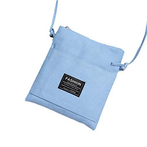 S.Charma Borsa Fashion Bag borsa canvas multicolored Candy monospalla Messenger bag zip tessuto morbido Colore della caramella Blu Chiaro