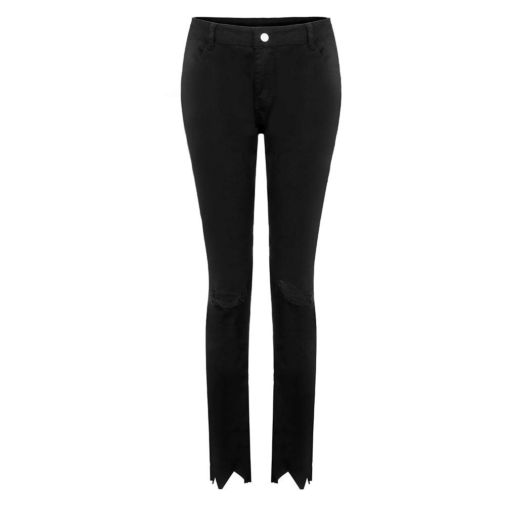 Winsummer Women's Casual High Waist Ripped Hole Skinny Jeans Distressed Pencil Denim Pants Black by Winsummer (Image #4)