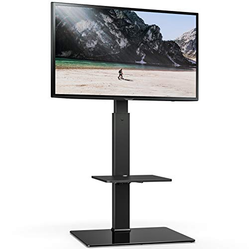 FITUEYES Universal tv Stand with Mount Two Shelves for 32inch to 65inch Sony/Samsung/LG/Vizio TV Swivel Mount TT207001MB,Two Kinds of Packaging Random Delivery