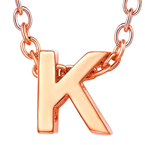 (U7 Unique Tiny Initial Necklaces Women Girls Choker Alphabet Letter Jewelry Rose Gold Plated Personalized Monogram Name Necklace K, with Adjustable Cable Rolo Chain 16