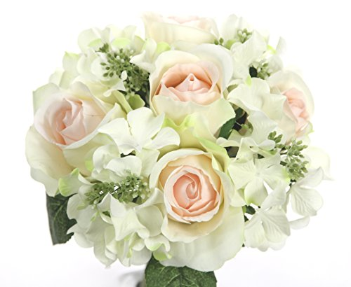 Admired By Nature 9 Stems Artificial Rose Hydrangea Mixed Bouquet, Cream/Pink (Hydrangea Bouquet Rose)