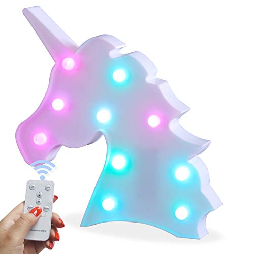 Battery Operated Night Light LED Marquee Sign with Wireless Remote Control for Kids Room, Bedroom, Gift, Party, Home Decorations (Unicorn Head Colorful)