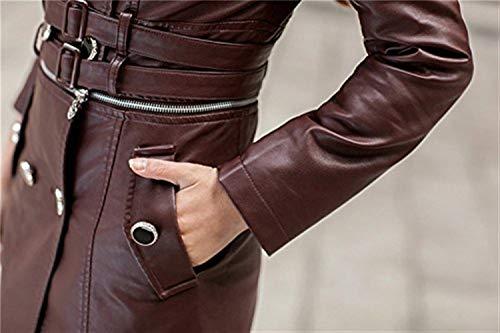 Fit Jacket Lunga Donna Fashion Giubbotto Manica Biker Giacca Costume Slim Di Kaffee Moto Eleganti Double Autunno Vintage Pelle Breasted Invernali Cappotti Bavero Finta 4xSZfZ