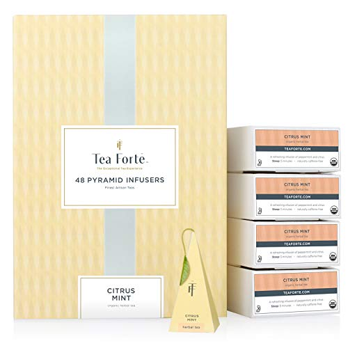 Tea Forté BULK PACK Citrus Mint Herbal Tea, 48 Handcrafted Pyramid Tea Infusers