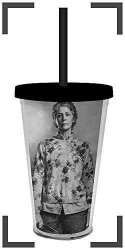 The Walking Dead OFFICIAL Carol Peletier #TeamCarol PREMIUM Tumbler Travel Cup with Acrylic Straw GIFT, 16oz Grey (Carol Walking Dead Costume)