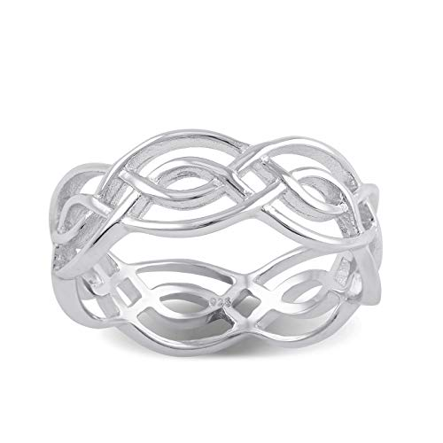 Sterling Silver Woven Celtic Braid Ring - Size 10 (Celtic Braid Ring)