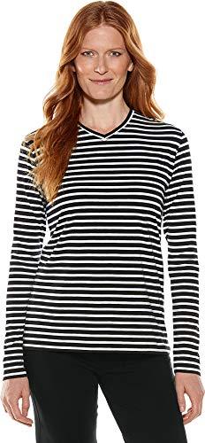 Coolibar UPF 50+ Women's Everyday V-Neck T-Shirt - Sun Protective (2X- Black/White Stripe)