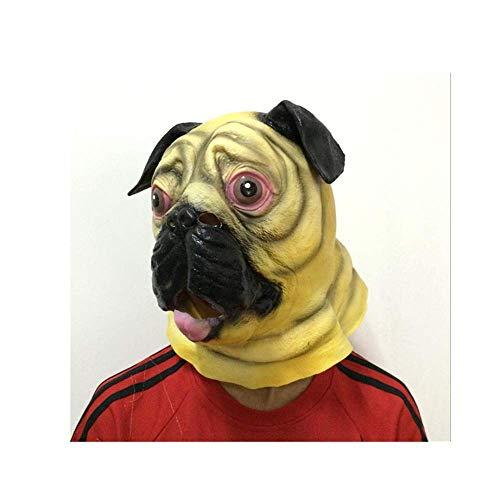 Micrkrowen Carnival Party Novelty Halloween cos Shar Pei Monster Funny face Chin mask Headgear]()