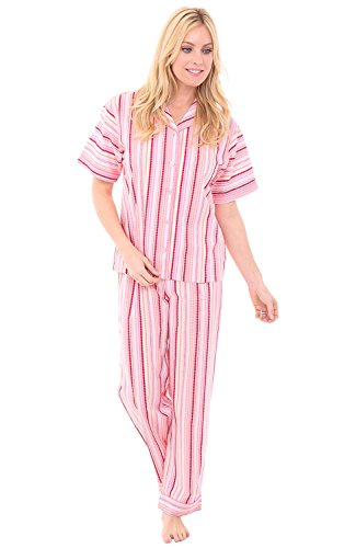 Stripe Woven Pajama Top (Alexander Del Rossa Womens Cotton Pajamas, Woven PJ Set With Pants, XL Pink Dotted Stripes With Pink Piping (A0518V57XL))