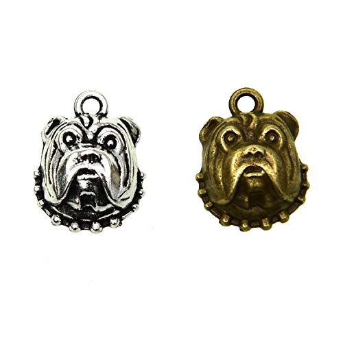 (Pomeat 50Pcs 17x13mm Zinc Alloy Bulldog Animal Charms Pendant for Bracelet Necklace DIY Jewelry Making, Antique Silver & Antique)