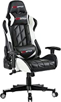 GTPOFFICE Gaming Chair Racing Style Office Ergonomic Conference Executive Manager Work Chair Leather High Back Adjustable Swivel Computer Desk Task Chair Tilt E-Sports Chair (White)