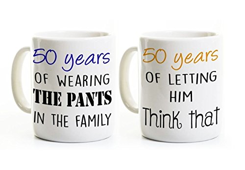 50th Anniversary Couples Coffee Mug Set (Two Mugs) - Wearing the Pants - Personalized - Funny