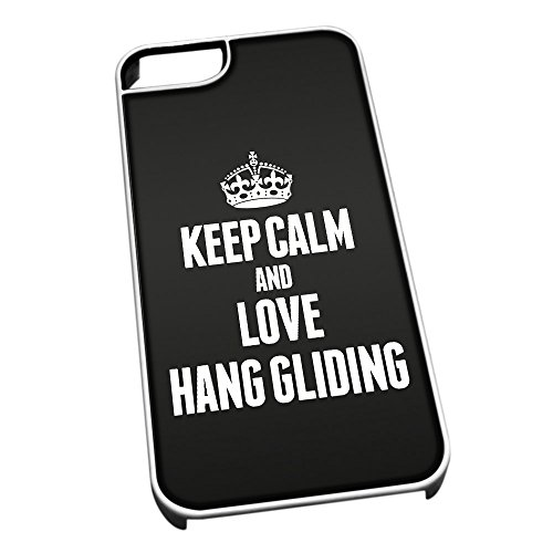 Bianco cover per iPhone 5/5S 1763 nero Keep Calm and Love Hang Gliding