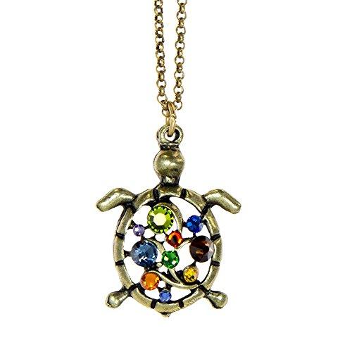 Anne Koplik Antique Brass Swarovski Crystal Multicolored Opened Turtle Pendant Necklace