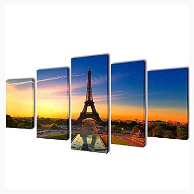 "K&A Company Canvas Wall Print Set Eiffel Tower 79"" x 39"""