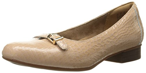 CLARKS Women's Keesha Raine Dress Pump, Nude Croc Patent Leather, 9 N US