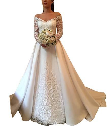 FJMM Womens Off The Shoulder A-line Wedding Dresses Long Sleeves Court Train Bridal - Train Long Court Sleeve