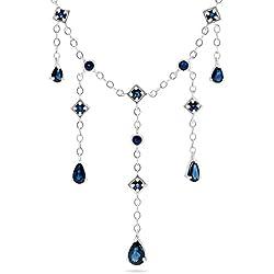 "14k White Gold Blue Sapphire Gemstone Link 16"" Necklace."