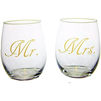 Mr and Mrs Stemless 21 ounce Wine Glasses For Wedding, Bridal Shower or Engagement Gift With DISHWASHER SAFE Gold Imprint-Big Dream Lifestyles