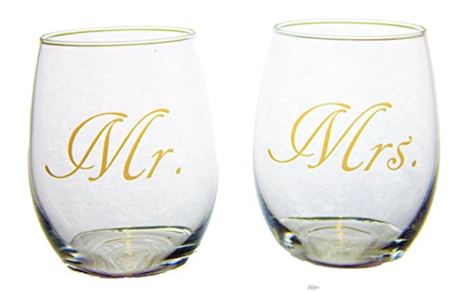 Mr and Mrs Stemless 21 ounce Wine Glasses For Wedding, Bridal Shower or Engagement Gift With DISHWASHER SAFE Gold Imprint-Big Dream (Mr And Mrs Glasses)
