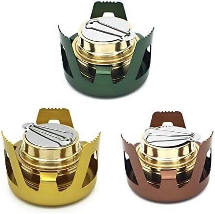 TOOGOO Mini Four en Aluminium Portable De Camping avec Bruleur dalcool Equipement De Randonnee Leger Et Compact Vert